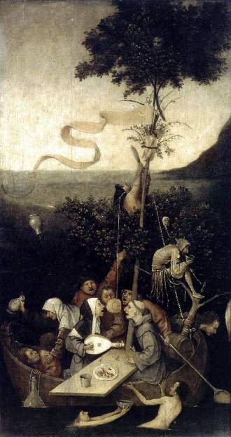 Картина «Корабль дураков». Иероним Босх.
