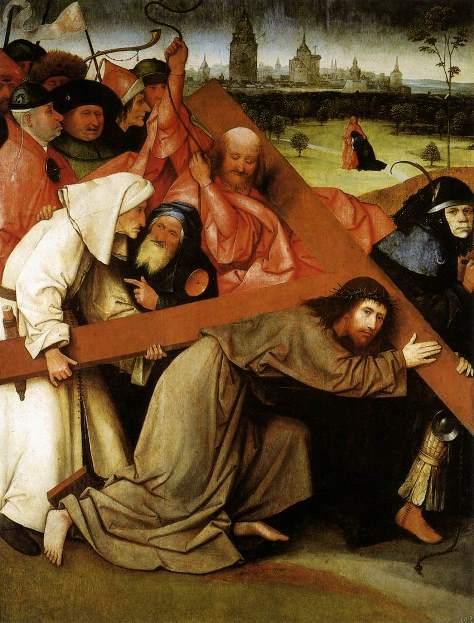 Иероним Босх. Картина «Несение креста» (Мадрид) - боковая панель от триптиха, который не сохранился.