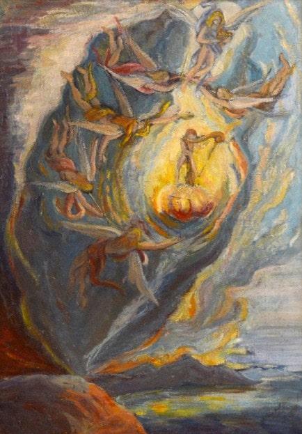 Первая сюрреалистическая картина Сальвадора Дали. Внутриутробное рождение.