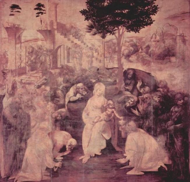 «Поклонение волхвов» 1481 год. Картина Леонардо да Винчи.