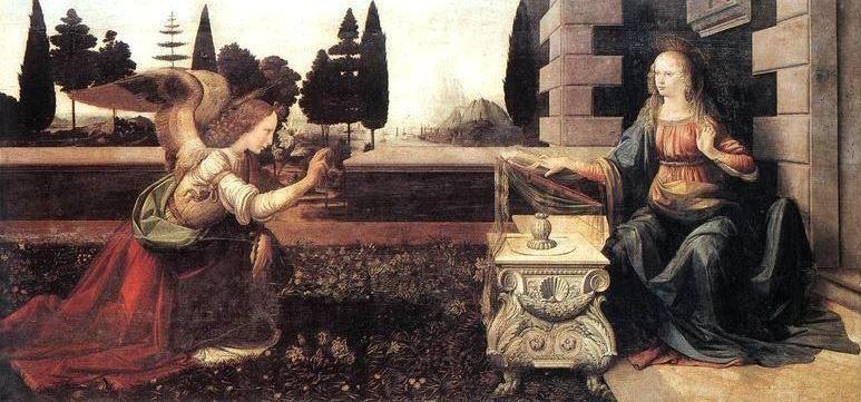 «Благовещение» 1475 год. Картина Леонардо да Винчи.