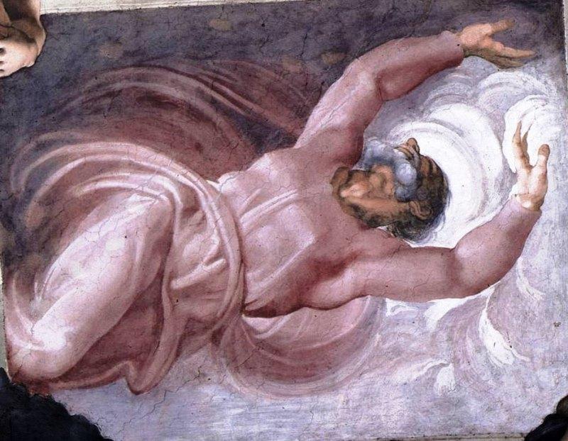 Отделение света от тьмы. Картина фреска Микеланджело Буонарроти. Сикстинская капелла. Фото.
