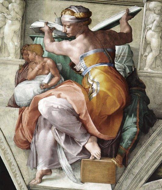 Ливийская сивилла. Картина фреска Микеланджело Буонарроти. Сикстинская капелла. Фото.