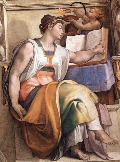 Эритрейская сивилла. Картина фреска Микеланджело Буонарроти. Сикстинская капелла. Фото.