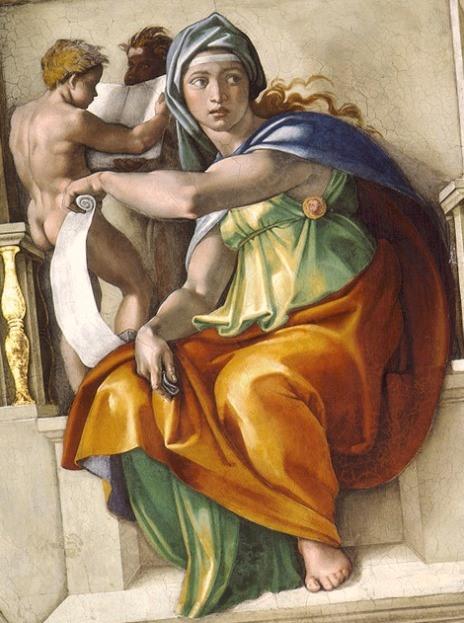 Дельфийская сивилла. Картина фреска Микеланджело Буонарроти. Сикстинская капелла. Фото.