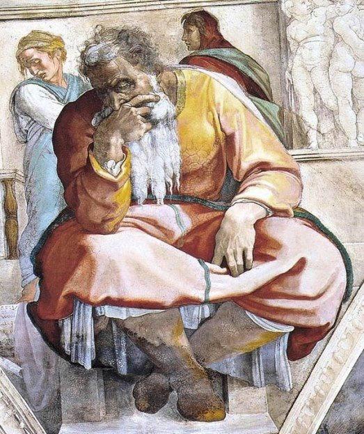 Пророк Иеремия. Картина фреска Микеланджело Буонарроти. Сикстинская капелла. Фото.