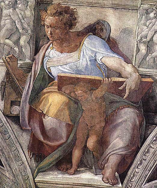 Пророк Даниил. Картина фреска Микеланджело Буонарроти. Сикстинская капелла. Фото.
