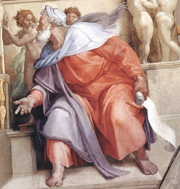 Пророк Иезекииль. Картина фреска Микеланджело Буонарроти. Сикстинская капелла. Фото.