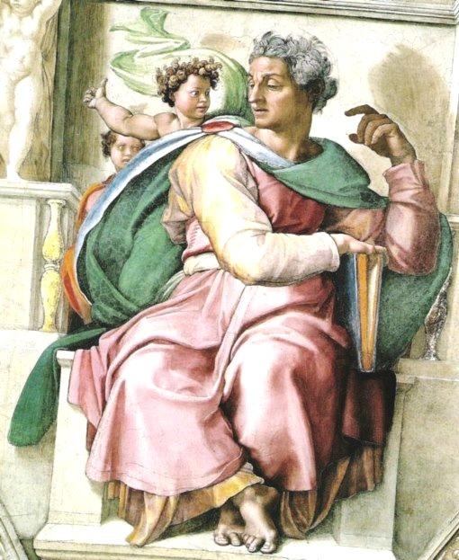 Пророк Исайя. Картина фреска Микеланджело Буонарроти. Сикстинская капелла. Фото.