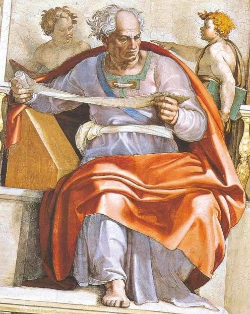 Пророк Иоиль. Картина фреска Микеланджело Буонарроти. Сикстинская капелла. Фото.