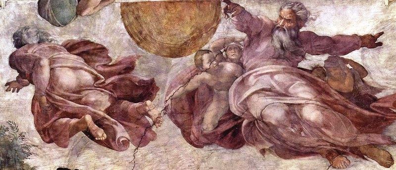 Создание солнца и планет. Картина фреска Микеланджело Буонарроти. Сикстинская капелла. Фото.
