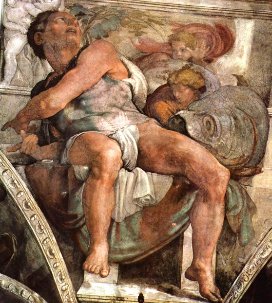 Пророк Иона. Картина фреска Микеланджело Буонарроти. Сикстинская капелла. Фото.