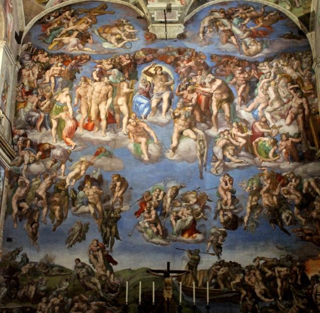 Страшный суд. Картина фреска Микеланджело Буонарроти. Сикстинская капелла. Фото.