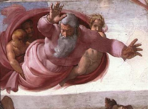 Отделение суши от вод. Картина фреска Микеланджело Буонарроти. Сикстинская капелла. Фото.