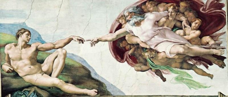 Сотворение Адама. Картина фреска Микеланджело Буонарроти. Сикстинская капелла. Фото.
