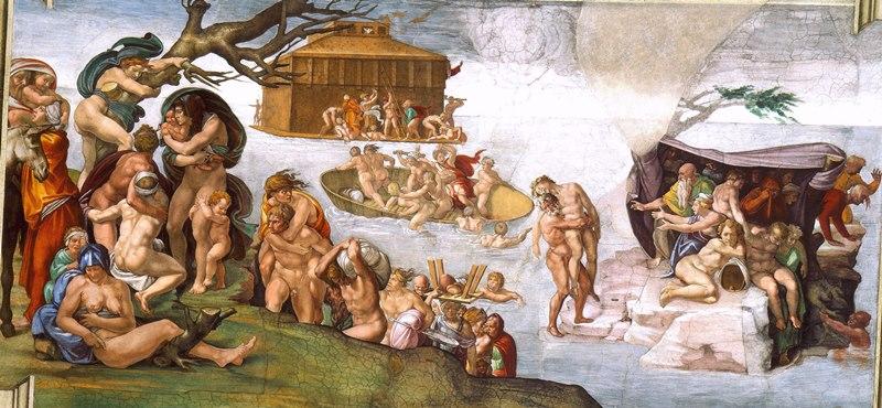 Всемирный потоп. Картина фреска Микеланджело Буонарроти. Сикстинская капелла. Фото.
