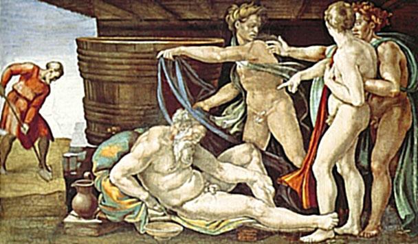 Опьянение Ноя. Картина фреска Микеланджело Буонарроти. Сикстинская капелла. Фото.
