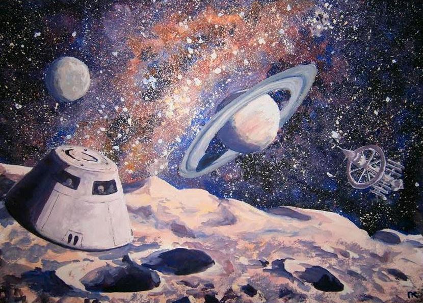 «Исследователи космоса». Бумага, гуашь. 29 х 42 см.