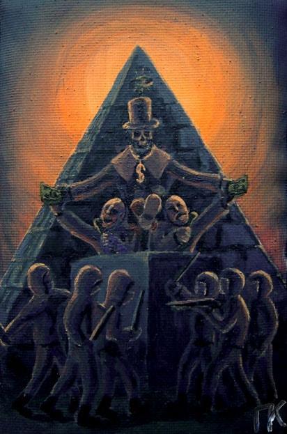 «Пирамида власти». Холст, акрил. 6 х 12 см.