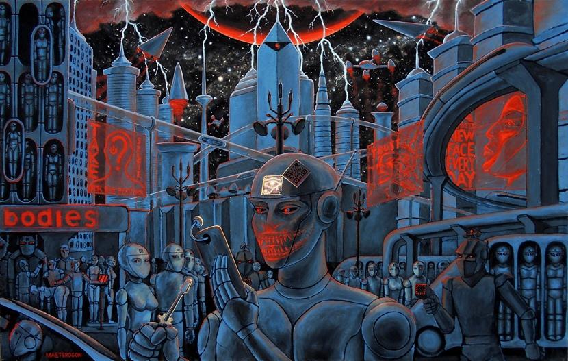 Картина будущего, фантастика. Картина про Нибиру, роботов, матрицу и манипуляцию сознанием.