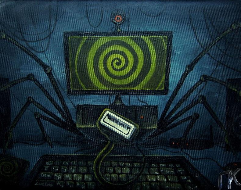 «Компьютерный паук». Хост, акрил. 19 х 29 см.