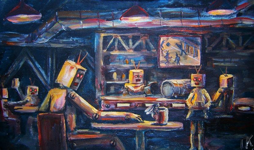 «Роботы  после работы». Холст, акрил. 29 х 39 см.