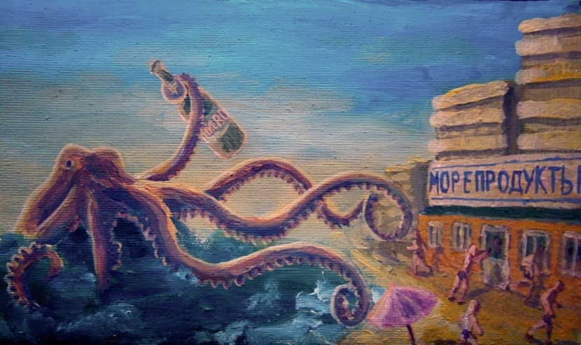 «Морепродукты». Холст, акрил. 8 х 16 см.