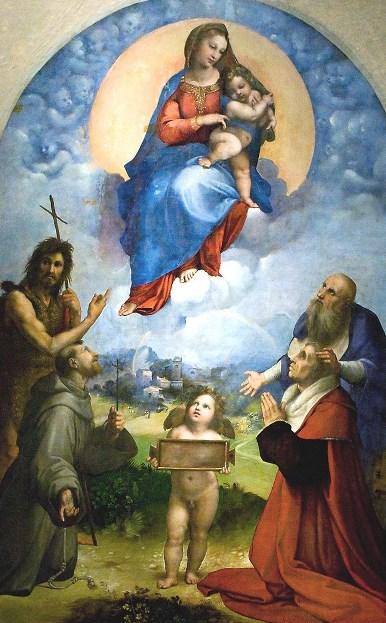 «Мадонна Фолиньо». Картина Рафаэля Санти перенесена маслом на холст. Находится в Ватиканской пинакотеке.