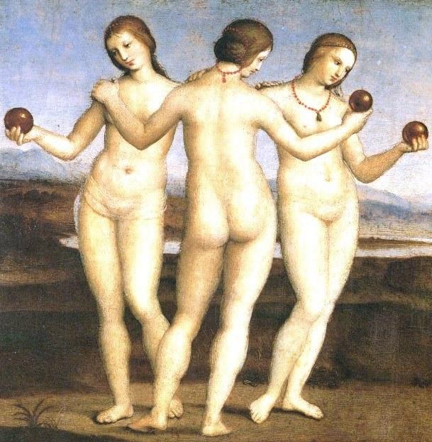 «Три грации». Картина Рафаэля Санти выполнена маслом на доске. Находится в Музее Конде, Шантийи, во Франции.