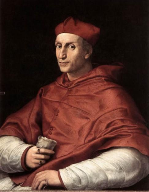 «Кардинал Биббьена». Портрет маслом на доске находится в Палаццо Питти. Картина Рафаэля Санти.