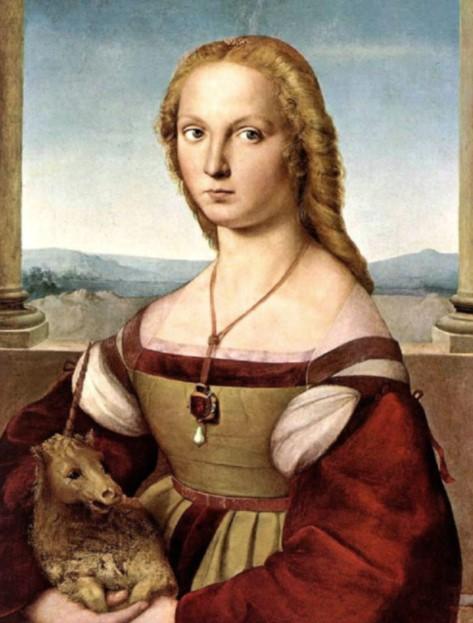 «Дама с единорогом». Женский портрет находится в Галерее Боргезе, в Риме. Картина Рафаэля Санти.