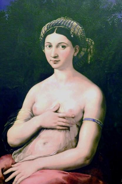 «Форнарина». Портрет, предположительно, изображает любимую женщину Рафаэля Санти. Находится в Палаццо Барберини, в Риме.