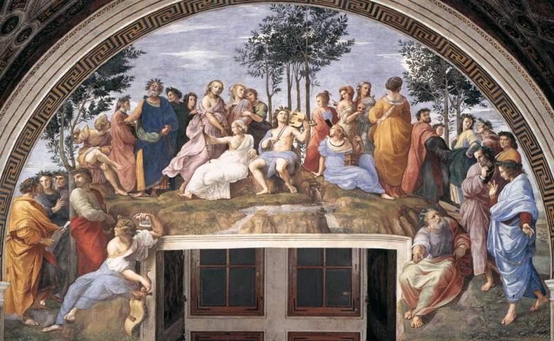 «Парнас». Фреска Рафаэля Санти в станце делла Сеньятура, в Ватиканском дворце.