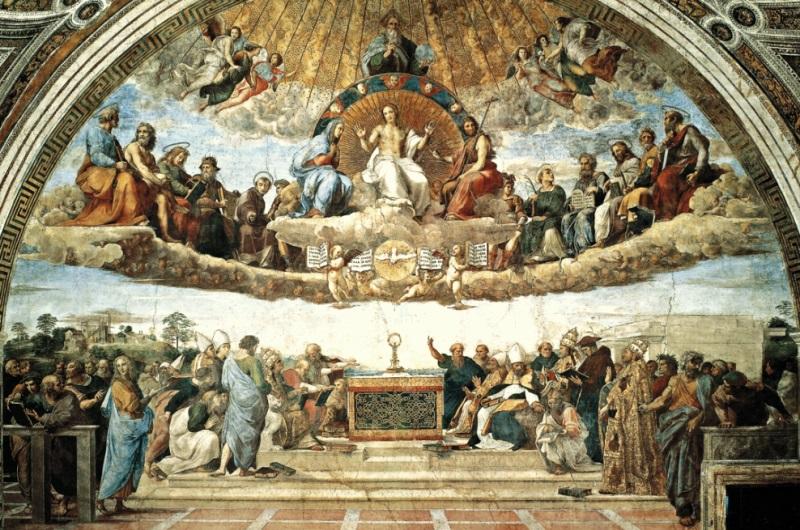 «Диспута». Фреска Рафаэля Санти написана в 1510 году в станце делла Сеньятура.