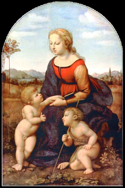 «Прекрасная садовница» (Мадонна с ребенком и Иоанном крестителем). Картина маслом на доске Рафаэля Санти.