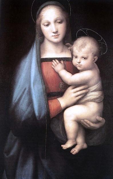«Мадонна Грандука». Картина Рафаэля Санти выполнена маслом на доске. Находится в Палатинской галерее Палаццо Питти.