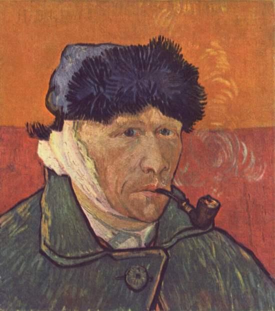 Автопортрет с трубкой, 1889 год. Картина Винсента Ван Гога.
