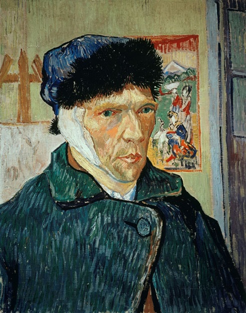 Автопортрет с отрезанным ухом, 1889 год. Картина Винсента Ван Гога.