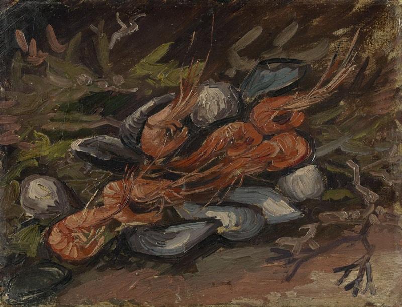 Натюрморт с мидиями и креветками, 1886 год. Картина Винсента Ван Гога.