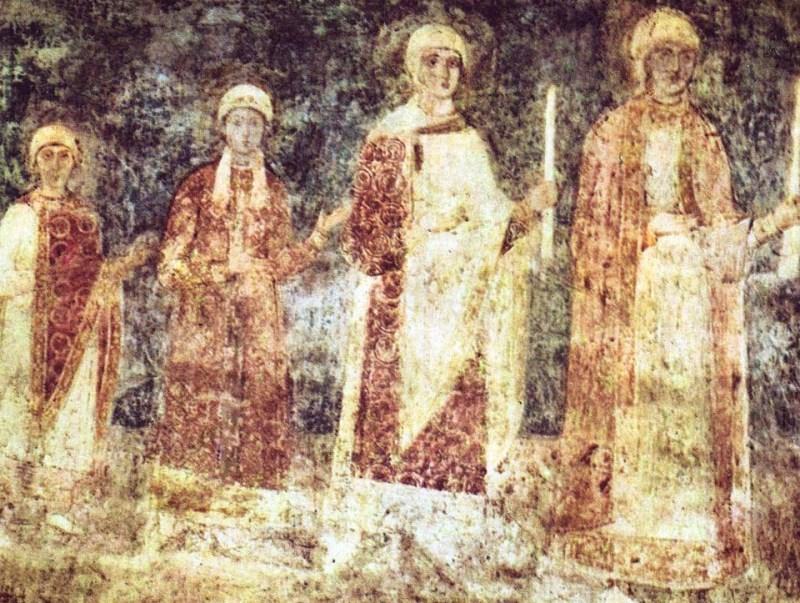Фреска Семья Ярослава Мудрого (фрагмент).