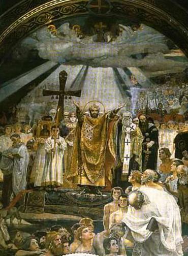 Фреска Крещение Руси выполнена Васнецовым, во Владимирском соборе, в Киеве