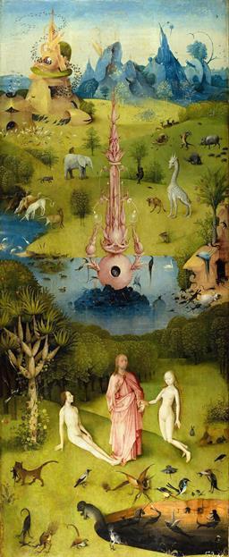 Рай «Сад земных наслаждений» Иеронима Босха. Левая часть триптиха.