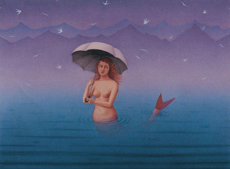 Картина девушки – русалки, нарисованная турецким художником Gurbuz Dogan Eksioglu.