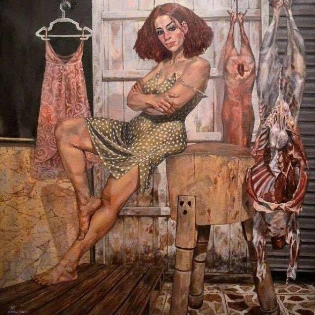 На фото картина девушки, нарисованная египетским художником Валидом Эбейдом.