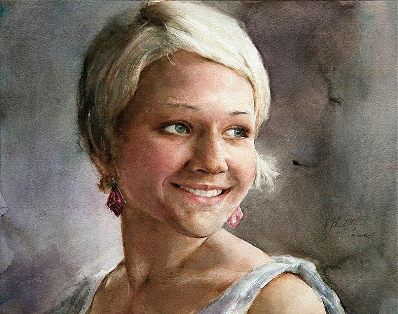 Эту картину - портрет девушки, нарисовал китайский художник-акварелист Гуань Вейксинг.