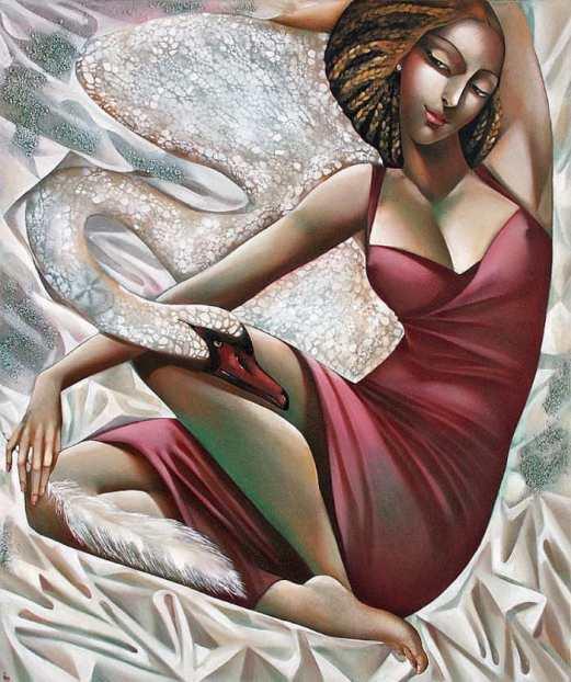 На фото картина девушки нарисованная греческой художницей Ирой Тсантекиду.