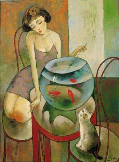 Эту картину девушки нарисовал грузинский художник Мурман Кучава.