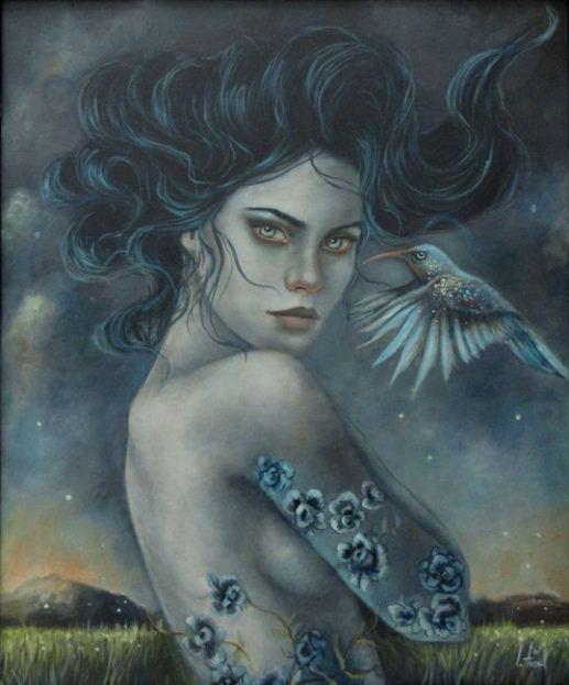 Картина девушки, нарисованная испанской художницей Ингрид Тюзлл.
