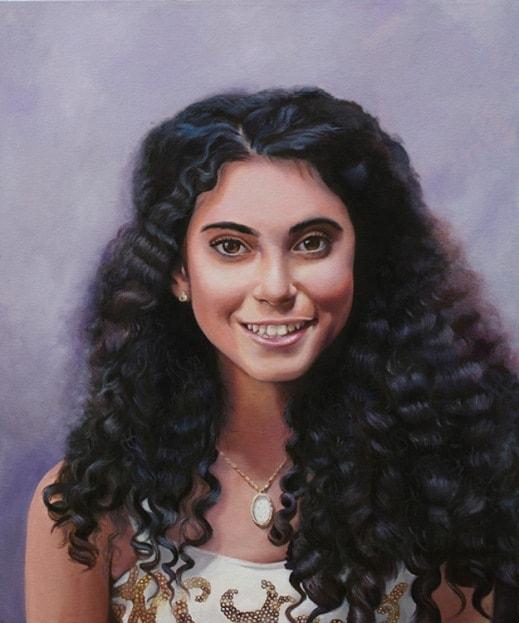 Картина девушки, которую нарисовал израильский художник Нава Абель.