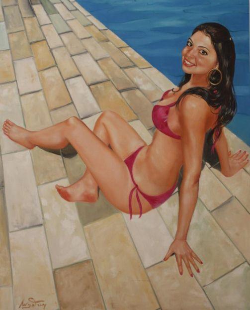 Картина девушки, нарисованная в стиле пин ап бразильским художником  Селсо Анджелини.